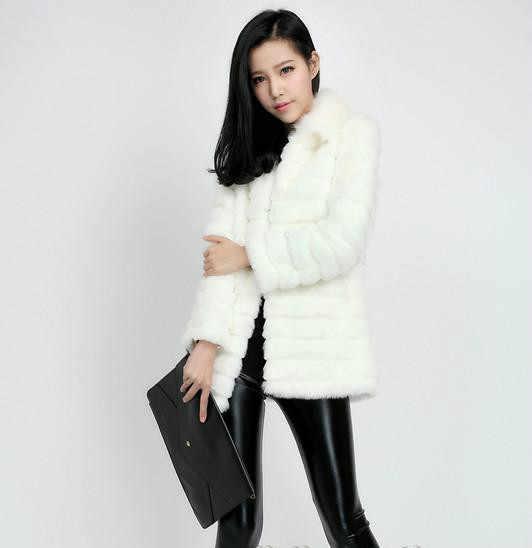 Плюс Размеры Для женщин зима кролик Мех животных пальто casaco feminino средние и длинные толстые теплые норки меховой воротник химическое Мех животных Ткань куртка x681