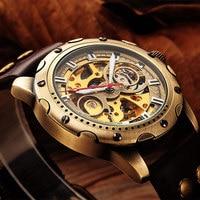 SHENHUA Retro Automatic Mechanical Watches Men Brand Luxury Leather Skeleton Self Wind Men WristWatch Gift Relogio