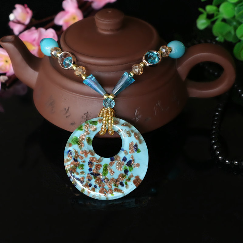 Ethnic Jewelry Boho Coloured Glaze Long Sweater Chain Cashew Pattern Choker Statement Necklace Glass Crystal Beaded Pendants
