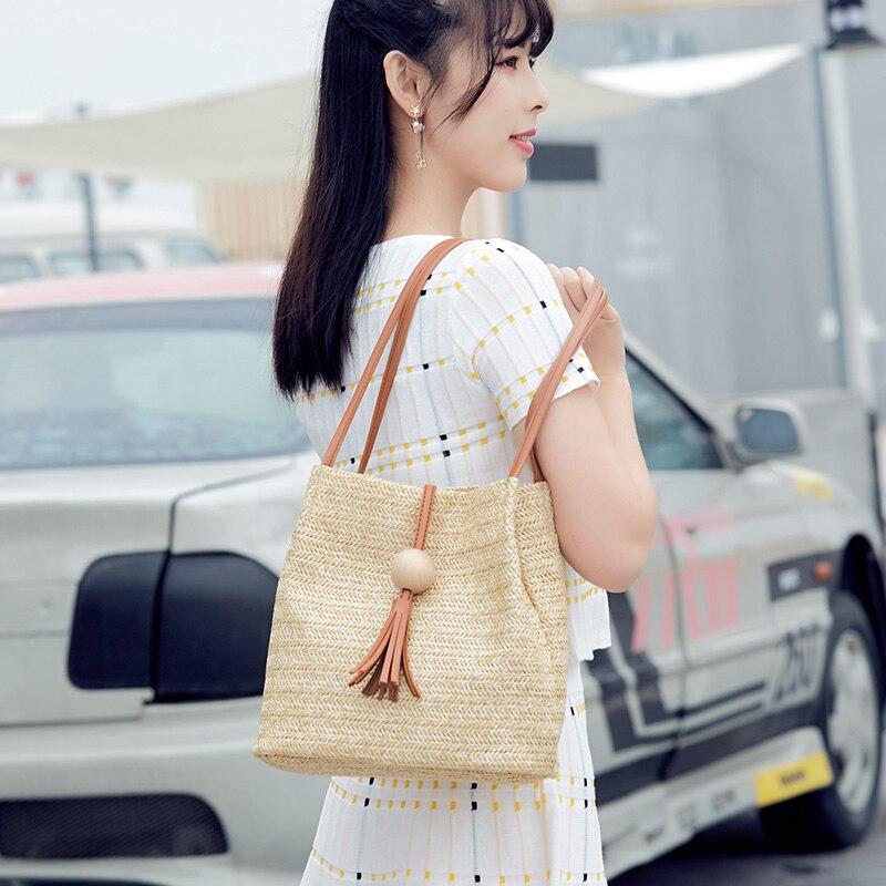 Women Fashion Beach Handbag Rattan Woven Handmade Knitted Straw Big Capacity Totes Ladies Unique Shopping Handbag Shoulder Bag in Shoulder Bags from Luggage Bags