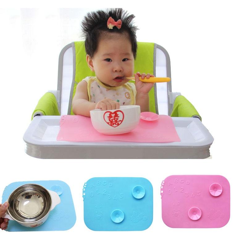 012345 Makanan bayi Tempat mangkuk tikar tempat dengan dua Magic suckers Bayi Pembelajaran Bowl Mat Kerusi bayi silikon anti slip makan tikar F