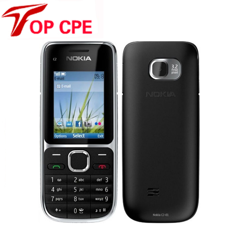 "Original Nokia C2-01 Unlocked Mobile Phone C2 2.0"" 3.2MP Bluetooth Russian&Hebrew keyboard Refurbished GSM/WCDMA 3G Phone"