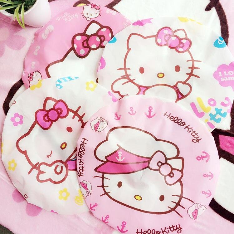 d9e03b8d30 20pcs PVC Cute cartoon shower Hello Kitty bath cap women hat for baths and  saunas lace