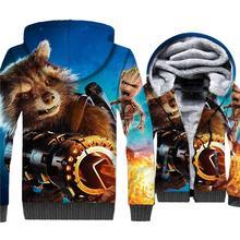 I am Groot Rocket Hoodies 3D Jackets Men Super Hero Sweatshirt Winter Thick Fleece Warm Zipper Coat The Avengers Brand Clothing цена и фото
