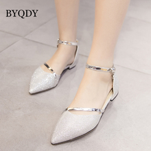 BYQDY 2019 New Fashion Spring Women Sandals Brand Designer Metal Decoration Gold Silver Party Shoes Summer Elegant Low Heel