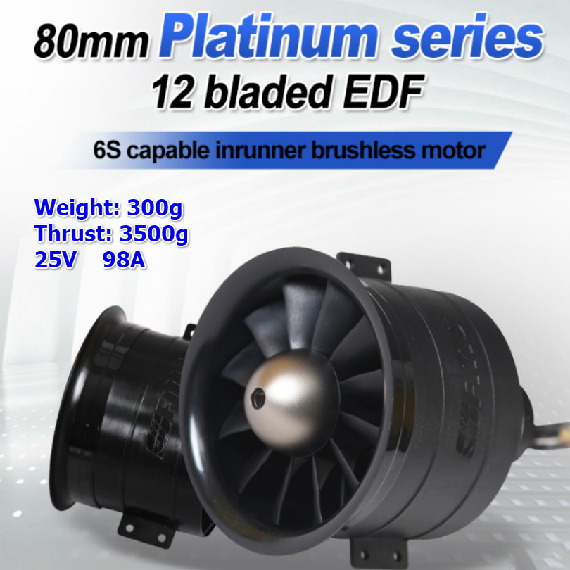 FMS 80mm Ducted Fan EDF Jet 12 Blades With 3280 KV2100 Motor 6S V2 RC Airplane Aircraft Plane Engine Power System 3500g Thrust