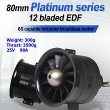 Fms ventilador duplo 80mm edf jato 12 lâminas, com 3280 kv2100 motor 6s pro rc avião sistema 3500g de potência do motor