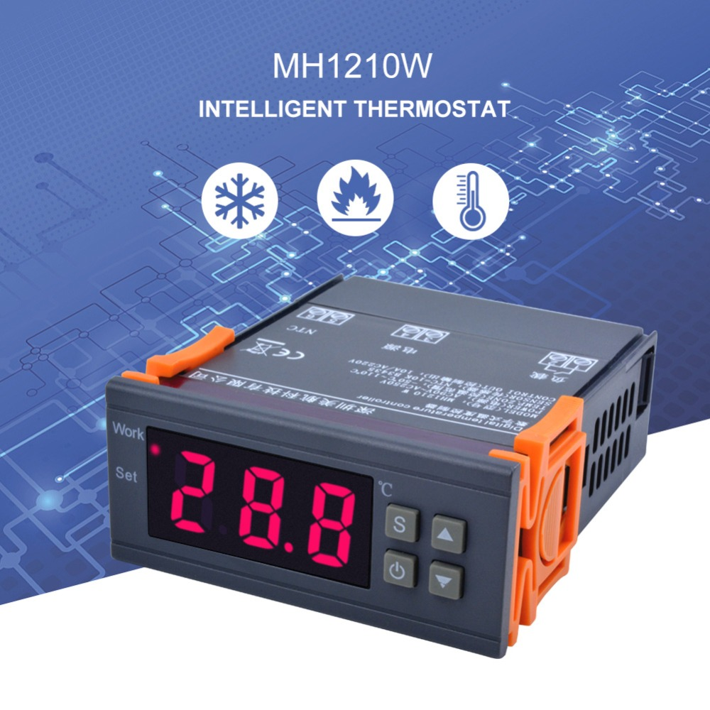 MH1210W Digital Temperature Controller AC90 250V 10A 220V Thermostat Regulator with Sensor 50 110C Heating Cooling