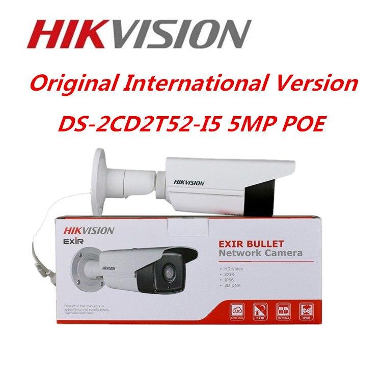 Hikvision Original English IP Camera DS-2CD2T52-I5 5MP CCTV Camera 50M IR Network IP Camera  Bullet POE CCTV Security Camera 2016 hikvision new arrive english version ip camera ds 2cd2t52 i5 5mp cctv camera 50m ir surveillance camera