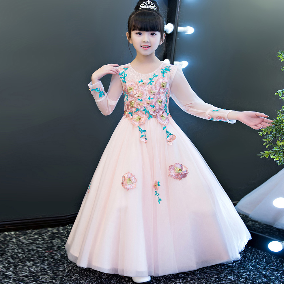 European Luxury Elegant Children Girls Fashion Embroidery Flowers Birthday Wedding Party Long Dress Kids Ball Gown Pageant Dress new european luxury children girls embroidery flowers long train princess dress for birthday wedding party kids pageant dress