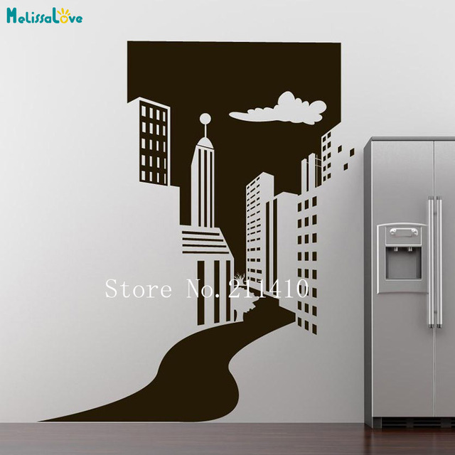 Cool Wall Sticker City Doorway Wallpaper Home Decor For Living Room Bedroom Self Adhesive