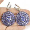 Grande Rico Longo Azul Quartzo Violeta, branco CZ Engagement Criado SheCrown 925 Brincos de Prata 59x37mm