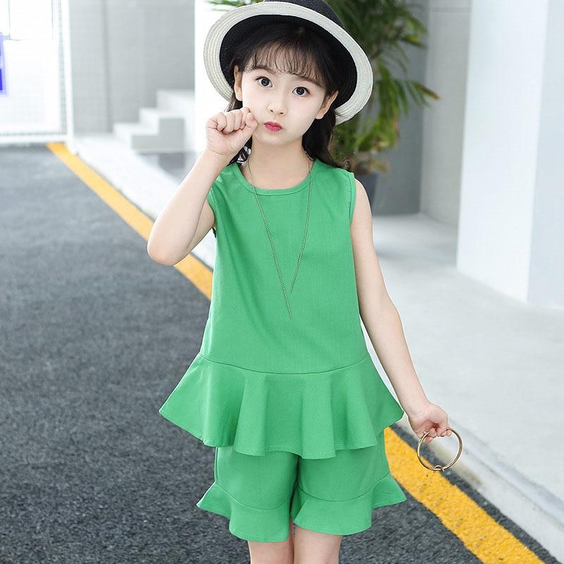 Tween Girl Fashion Black: Ruffles Toddler Summer Girls Set Clothes Black Green