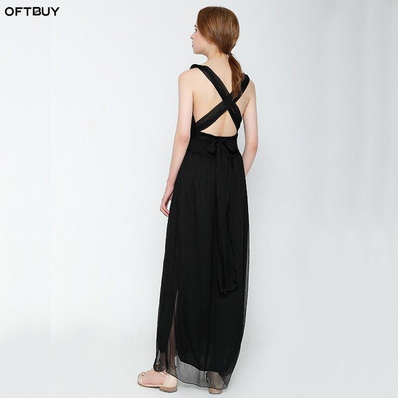 3ff8df533fdb SALE 2019 summer beach dress black sleeveless Backless high waist dress  women bandage sexy long Chiffon