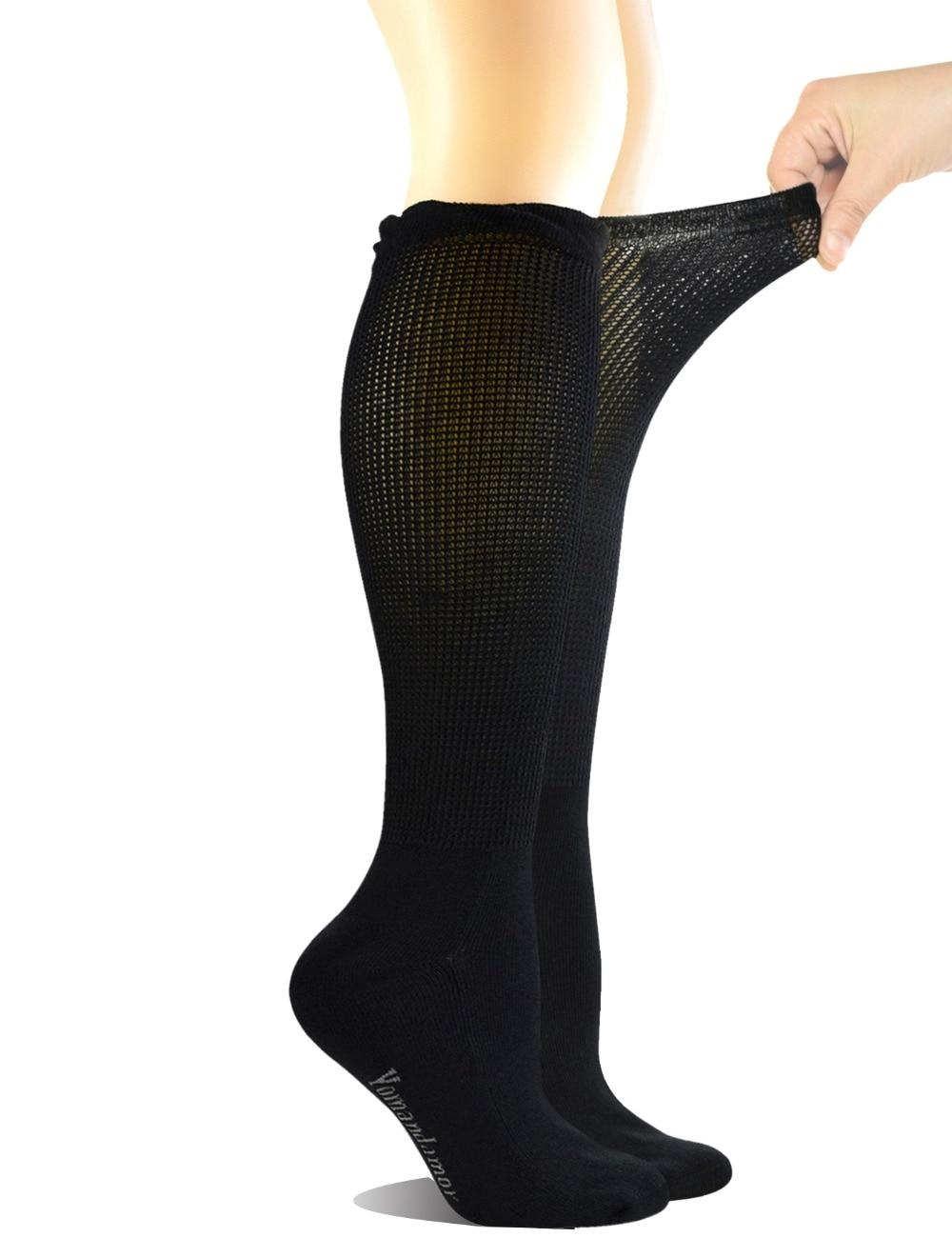 4 пары, Женские бамбуковые носки до колена с бесшовным носком