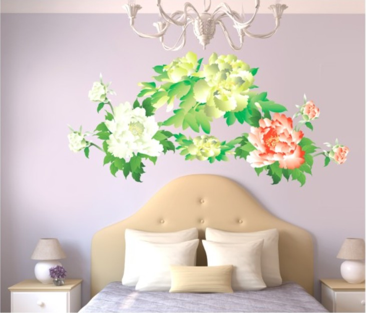 Peony household wall stick wall stickers can remove PVC transparent film on the wall ...