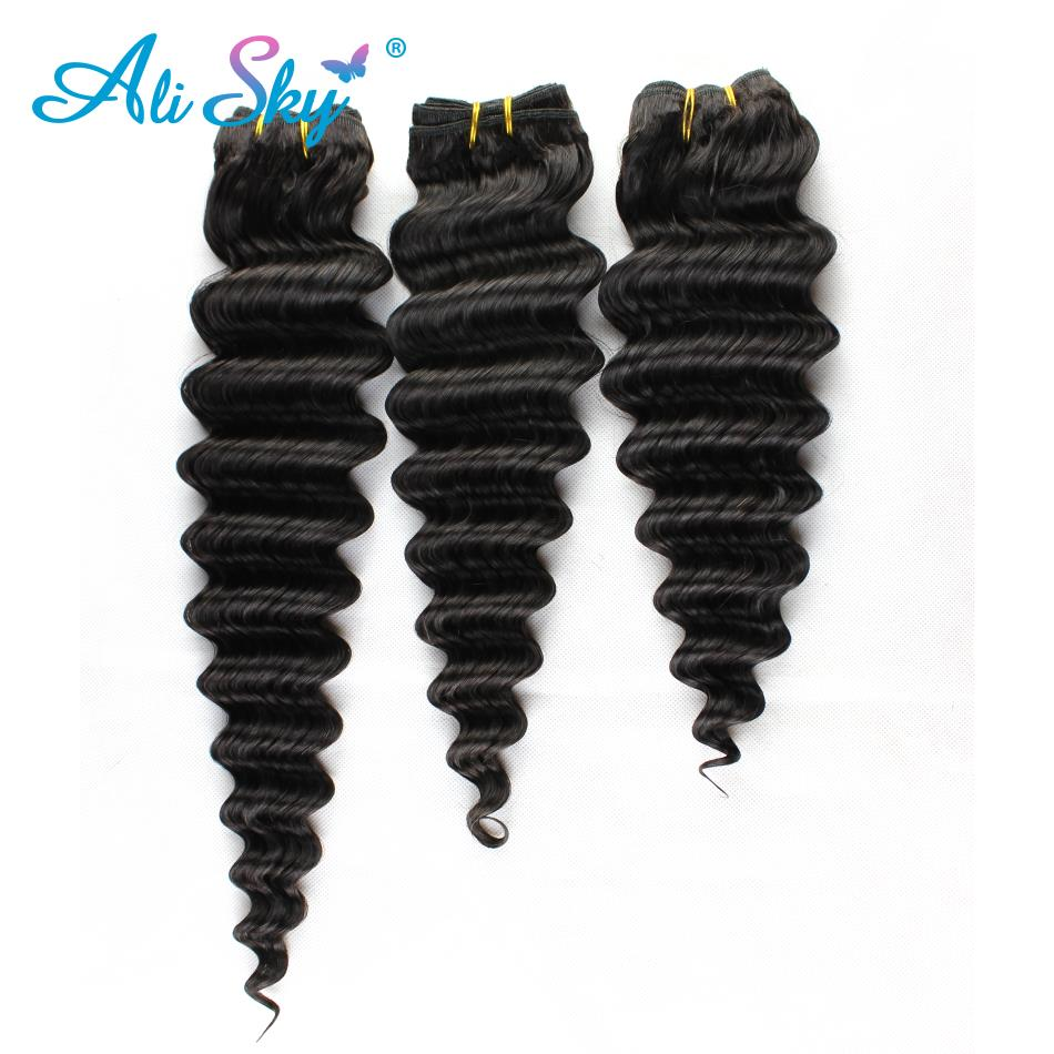Malaysian Deep Wave Hair Weave 3PCS Bundles 100% Remy Human Hair Extensions Natural Color Free Shipping Ali Sky 300grams