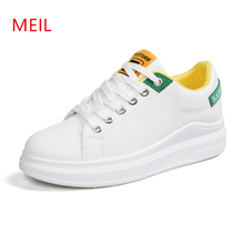 Womens Flat Casual Shoes Thick-soled Women White Sneakers Woman 2019 Spring Vulcanize Lace Up Ladies Sneakers Shoes Platforms 2017 fashion brand full genuine leather women spring thick sole flat platforms single shoes woman lace up stonepattern heel shoe