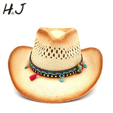 Handmade Weave Straw Women Western Cowboy Hat With Tassel Ribbion Size 58CM