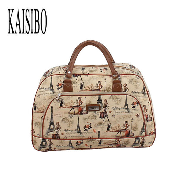 Kaisibo Women Travel Bags Leather Bag S Fashion Waterproof Duffel Tower Beauty Female Print