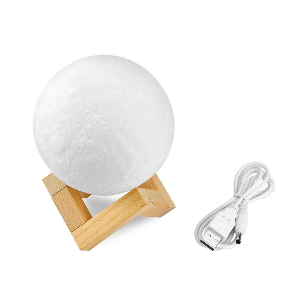 Новинка перезаряжаемая 3D печать луна лампа 2 цвета сенсорный светодио дный переключатель изменение LED кровать стол Луна ночник украшение дома креативный подарок