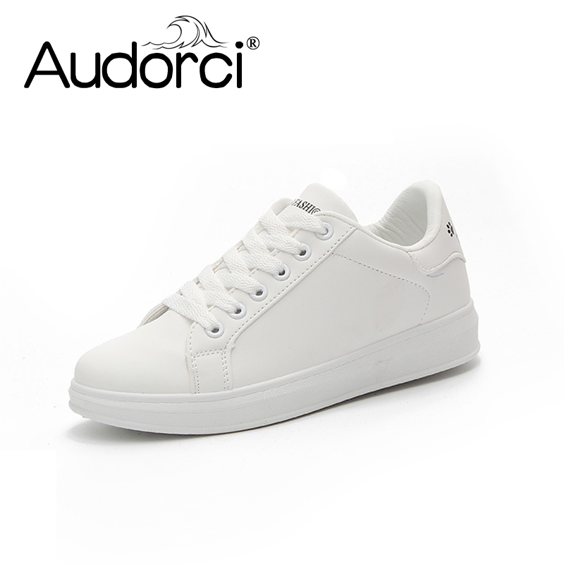 Audorci 2018 Spring And Summer White Shoes Women Fashion Flat Leather Board Shoe Woman White Breathable Casual Shoes Size 35-40 free shipping 2017 spring summer shake shoes breathable hollow out single women shoes the nurse s shoes white and platform shoes
