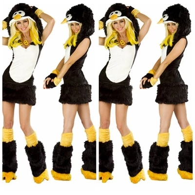 Animal Penguin Faux Fur QQ Penguin Costume <font><b>Women</b></font> <font><b>Halloween</b></font> Fancy Party <font><b>Dress</b></font> Carnival <font><b>Sexy</b></font> Cosplay Outfits 80508 image