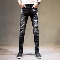 Hot koop 2017 Zwarte Jeans Mannen Rechte Denim Jeans Broek Plus Size 27-36 Hoge Kwaliteit Katoen Knoppen Mannen Jeans