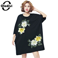 Oladivi Plus Size Women Clothing 2017 Summer New Fashion Rose Embroidered Dress Ladies Casual Loose Long