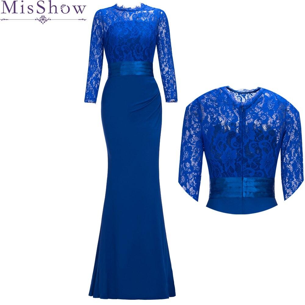 Bridesmaid-Dresses Mermaid Long-Sleeve Wedding Burgundy Royal-Blue Under Women Lace Cheap