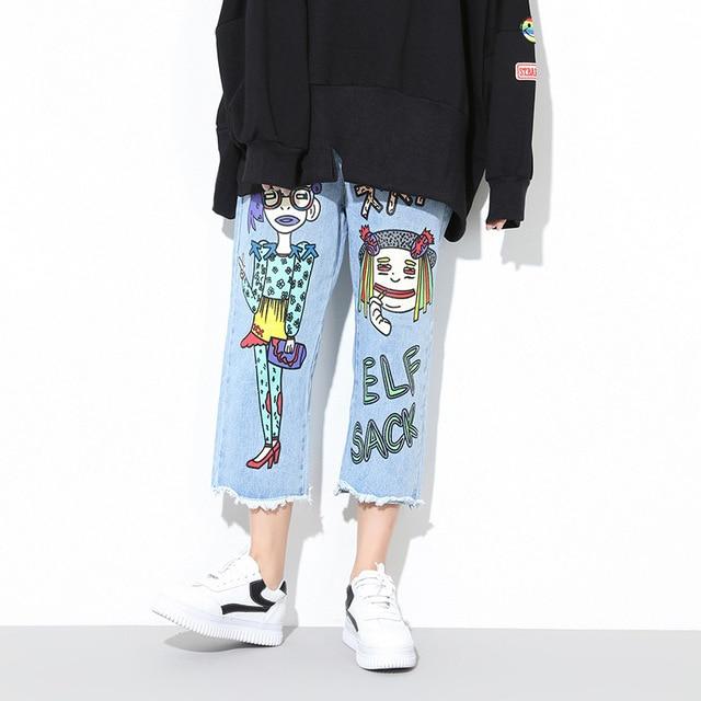 2017 Early Spring New Women's Fashion Denim Wide Leg Pants Korean Cartoon Printed Elastic Waist Wide Leg Crotch Jeans
