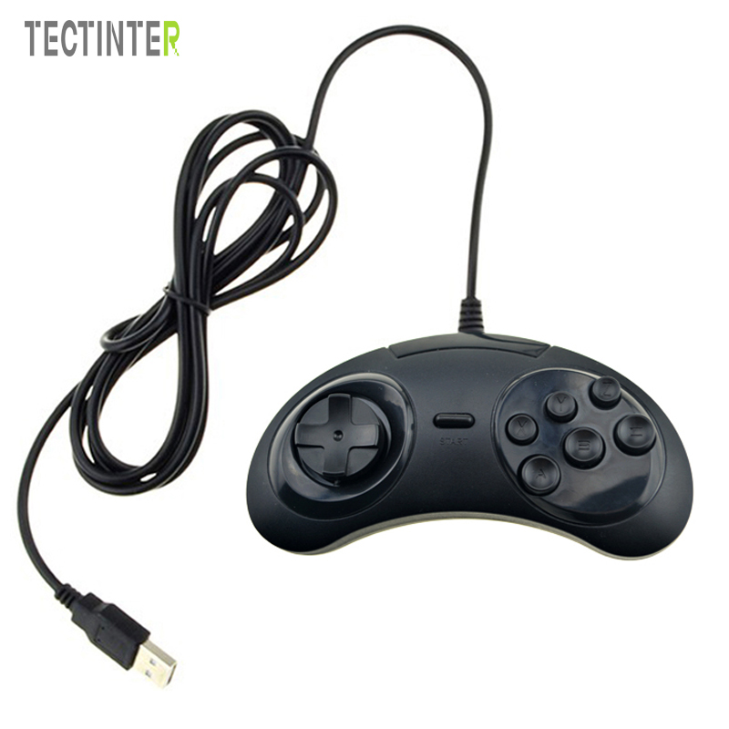 Classic Wired 6 knapper til SEGA USB Classic Gamepad USB Game Controller Joypad til SEGA Genesis / MD2 Y1301 / PC / MAC Mega Drive