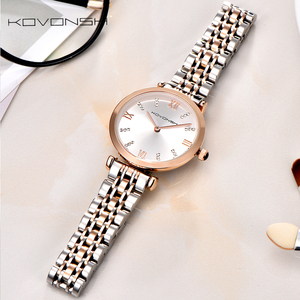 Image 3 - KOVONSH Women Watch Watches Ladies Watch Womans Female Watch Stainless Steel Dress Wrist Watches Silver Gold Gift Dropshipping