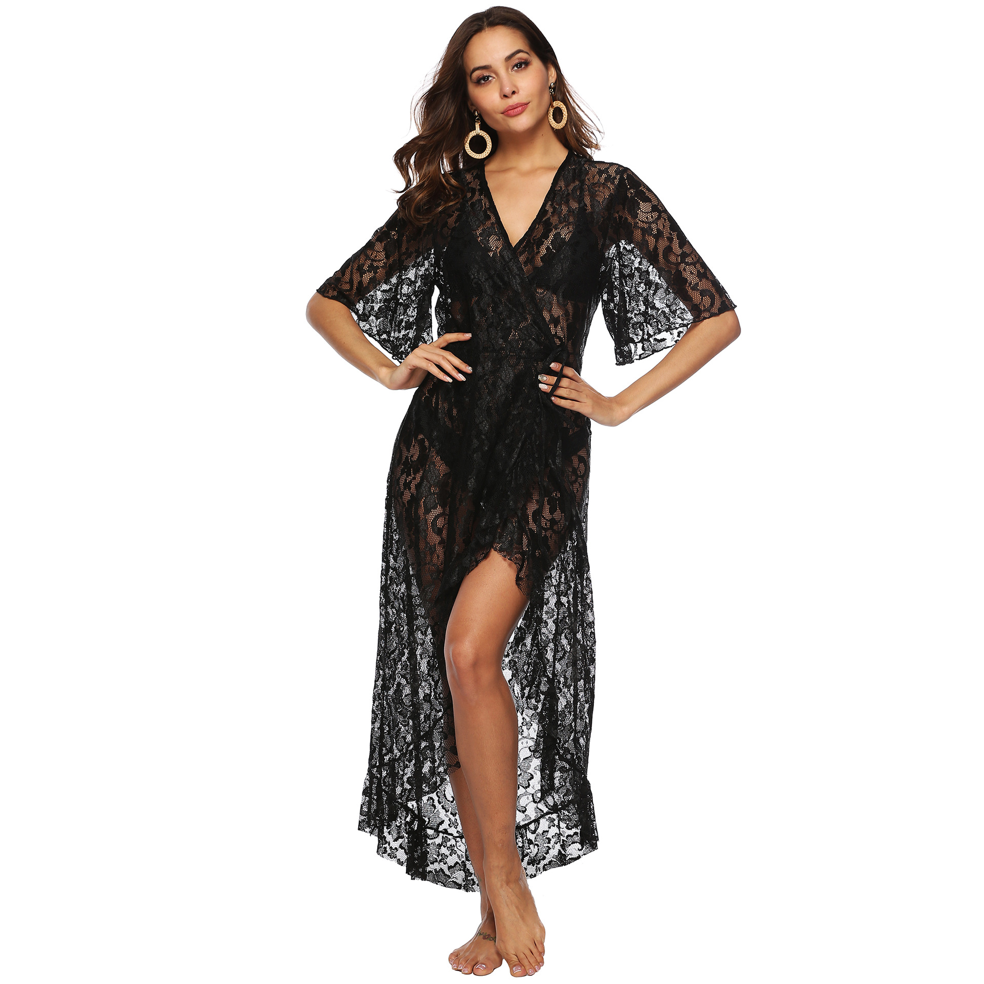 Lace beach blouse dresses irregular ruffles edges loose long dress half sleeves lace in Dresses from Women 39 s Clothing