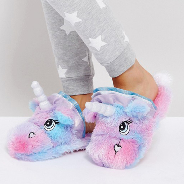 ef997452adb Unicorn Slippers Kids Flip Flops Girls Winter Warm Cotton Shoes Children  Animal Plush Fur Slippers Funny