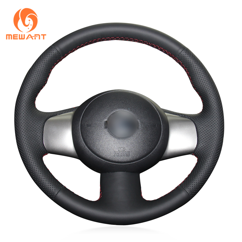 MEWANT Black Genuine Leather Car Steering Wheel Cover for Nissan March 2010-2015 Sunny 2011-2013 Versa 2012-2014 Almera Cube mewant wine red leather black suede car steering wheel cover for chevrolet cruze 2009 2014 aveo 2011 2014 orlando 2010 2015