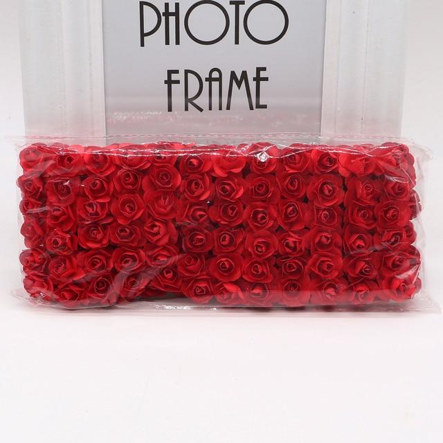 144pcs 1.5cm Mini Artificial Mini Paper Rose Bouquet DIY Wreath Scrapbook Wedding Ornament Artificial Rose Artificial Flower