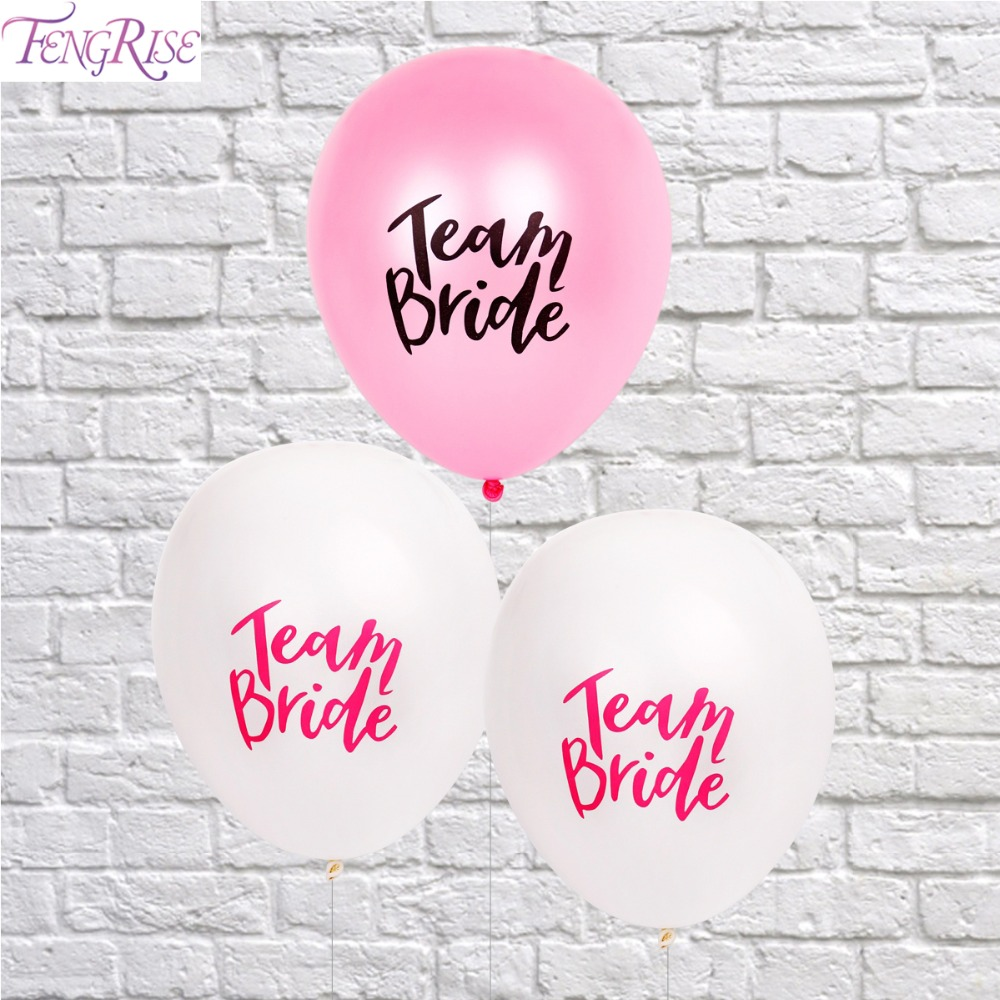 fengrise 10pcs team bride alphabet letter balloons latex wedding balloons wedding decoration balloon party bridal shower favors