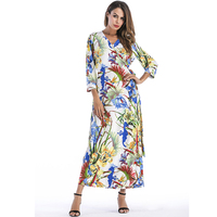 Fenghua Fashion Autumn Winter Dress For Women 2018 Sexy V Neck Floral Long Sleeve Dress Elegant