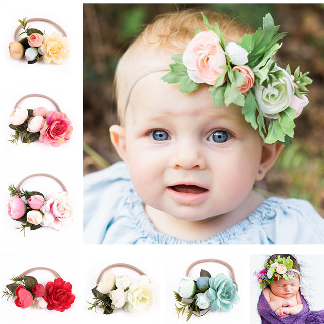 0ea32087363 6Pcs Lot Newborn Flower Headbands Girls Flowers Hair Bands Headwear Kids  Hair Accessories Newborn Photography props