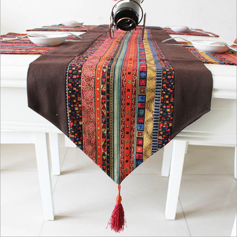 Fashion Cotton Linen Table Covers Double cloth Splicing Printed Table Runners Wedding Kitchen Study Home Decor Party Supplie