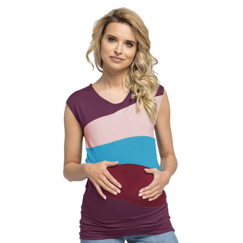 Comfy Nursing Tank Tops Summer Breast Feeding Vest Milk Silk Patchwork Pregnant Women Maternity Breastfeeding Tees Shirts S-XXXL