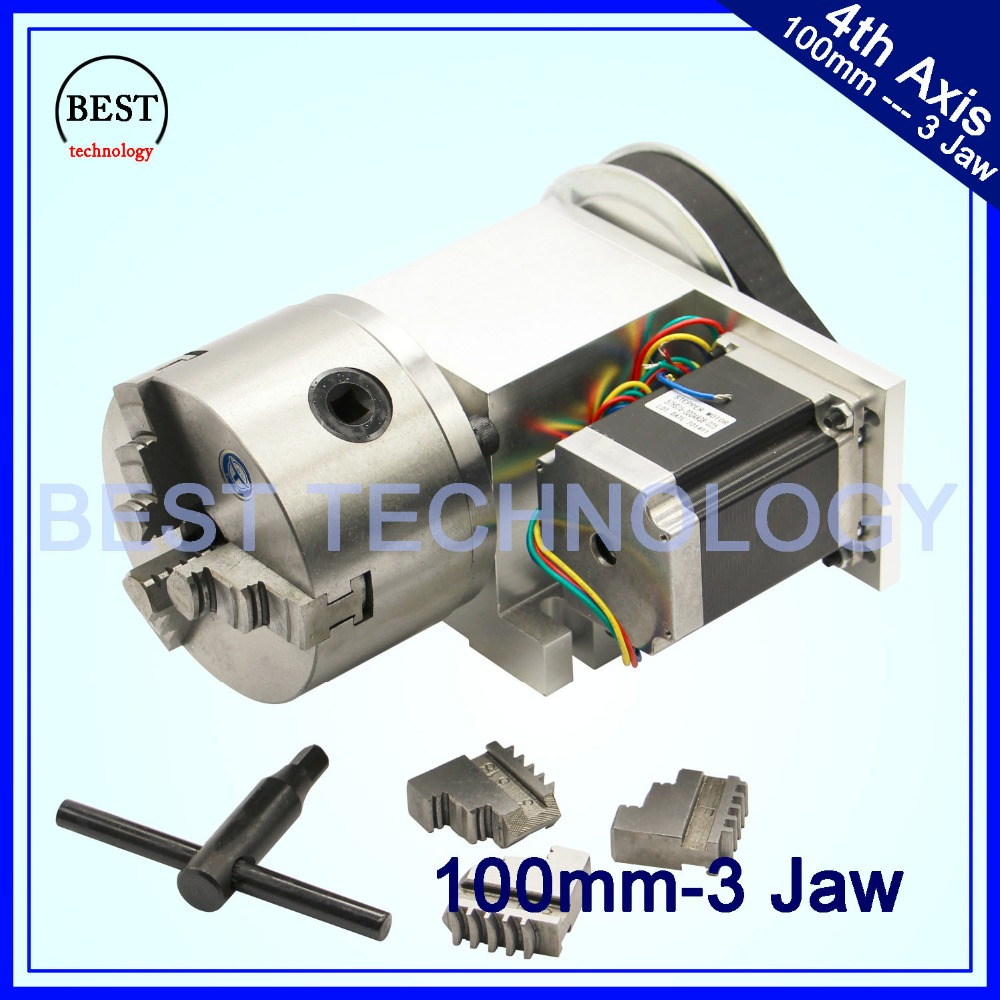 100mm CNC 4th Axis CNC dividing head/Rotation Axis/A axis kit Nema23 for Mini CNC router/engraver woodworking engraving machine cnc 3040 cnc router cnc machine 3 4 5 axis mini engraving machine woodworking tools diy hy 3040 high quality metal acrylic