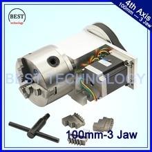 100mm CNC 4th Axis CNC dividing head Rotation Axis A axis kit Nema23 for Mini CNC