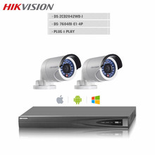 Hikvision CCTV 4CH NVR Recorder With 2pcs DS-2CD2042WD-I 4MP Onvif POE IP Bullet Camera IP67 Video surveillance System Kit