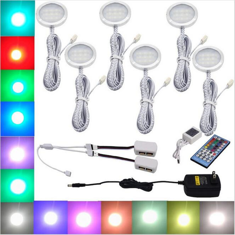 Rgbw Rgb White Led Under Cabinet Light 6 Lamps Kit With Ir Remote Control Dimmable For Kitchen