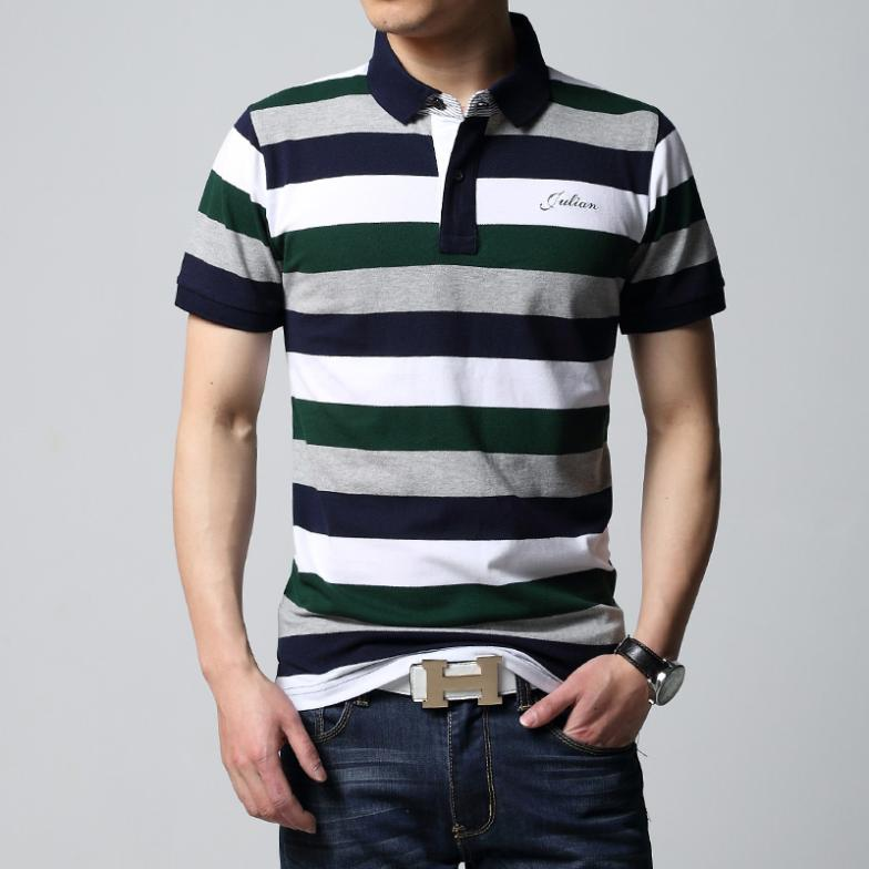 d9b538e3217 New Man Best Thailand Quality Man Summer 2014 brand Men's Striped POLO  shirts Cotton casual shirt Fashion Men Clothing T68014