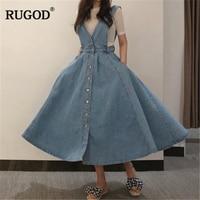RUGOD Women Denim Dress 2019 Fashion Single Breasted Spaghetti Strap Jean Dress Women Tunic Big Hem Backless Dress Vestidos