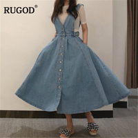 RUGOD Women Denim Dress 2018 Fashion Single Breasted Spaghetti Strap Jean Dress Women Tunic Big Hem Backless Dress Vestidos