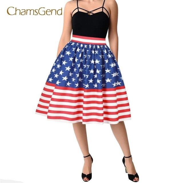 814a69b5d € 11.01 |CHAMSGEND Envío de La Gota 2017 Moda Vintage Mujeres bandera  Americana Impresa Tramo Alto de La Cintura Normal Skater Evasé Falda JUL07  ...